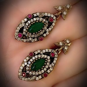 Love Axis Ruby Emerald Sterling Silver Earrings